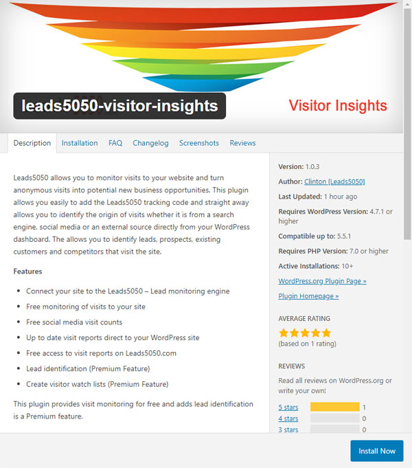 Leads5050 Visitor Insights Plugin on WordPress